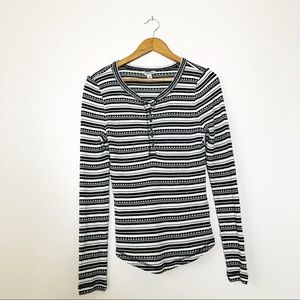 Lucky Brand Chloe Striped Thermal Knit Henley Top